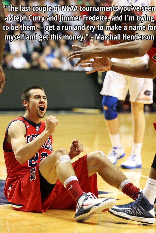 "bleacherreport:  The Rebels are going dancing! Ole Miss beats Florida, 66-63, for the SEC Tournament Championship. Marshall Henderson is still trying to ""get this money."""