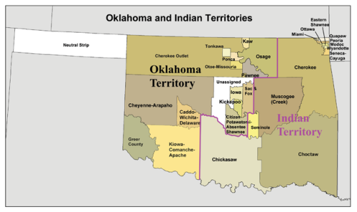 Indian Territory Indian Territory, in U.S. history, name applied to the country set aside for Native Americans by the Indian Intercourse Act (1834). In the 1820s, the federal government began moving the Five Civilized Tribes (Cherokee, Creek, Seminole, Choctaw, and Chickasaw) of the Southeast to lands W of the Mississippi River. The Indian Removal Act of 1830 gave the President authority to designate specific lands for them, and in 1834 Congress formally approved the choice. The Indian Territory included present-day Oklahoma N and E of the Red River, as well as Kansas and Nebraska; the lands were delimited in 1854, however, by the creation of the Kansas and Nebraska territories. Tribes other than the original five also moved there, but each tribe maintained its own government. As white settlers continued to move westward, pressure to abolish the Indian Territory mounted. With the opening of W Oklahoma to whites in 1889 the way was prepared for the extinction of the territory, achieved in 1907 with the entrance of Oklahoma into the Union.