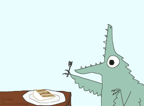 shittydinosaurdrawings:  dinosaur about to eat some Excellent Carrot Cake