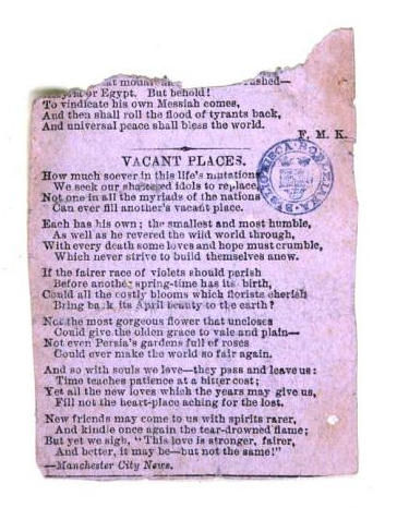 """Vacant Places"" pasted in. From the front matter of Verses for My Children by Eleanor Crewdson (1849). Original from Oxford University. Digitized April 27, 2007."