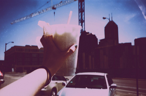 lavender coconut milk soda and indianapolis skyline