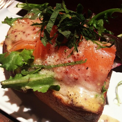 Smoked salmon and thick piece of toast. #food #japanese #delish #nom #kindahealthy
