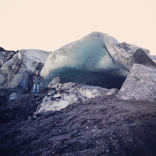 Glacial cave at the tongue of Solheimajokull glacier (at Sólheimajökull)