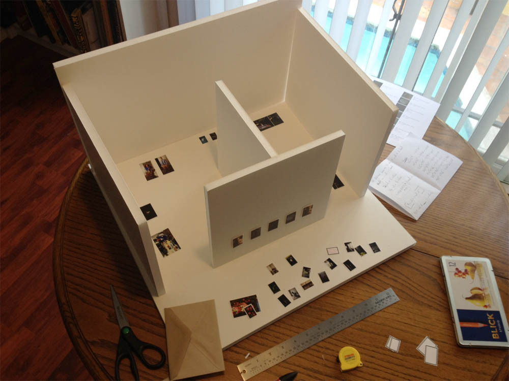 "Working on a scale model of my thesis show. (""What is this? An art gallery for ants?"" (I made the obvious Zoolander joke so you wouldn't have to.)) I thought I had figured everything out in my head, but now that I'm actually moving the pieces around it seems like the possibilities are endless and I feel crazy. Happy, productive, wouldn't have it any other way crazy, but crazy nonetheless. My show opens on April 18. That is only like 65 days from now."