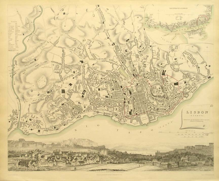 Map of Lisbon in 1833