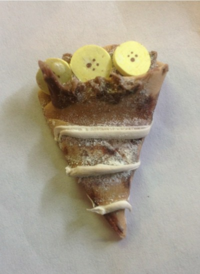 Apologies for the lack of posts…here's a banana-chocolate crêpe! Found a lot of very good ones online and decided to make one of my own. (It's a little smaller than a real banana slice)