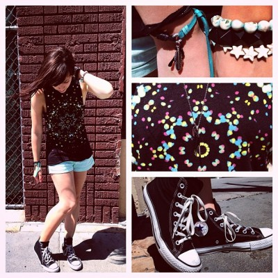 strawburry17:  OOTD- Urban, Forever 21, DIY bracelets, and Converse ✌
