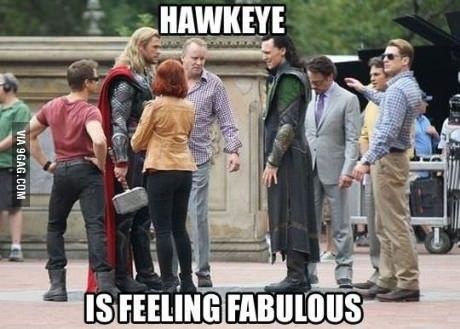 9gag:  Hawkeye is feeling fabulous