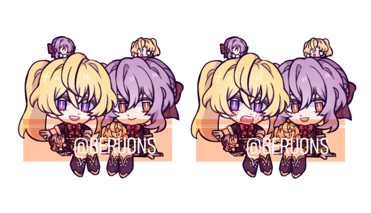 I had to scale them down in order to fit on the charm template. My main concern is if the details will be clear enough, esp the tiny chibis 🤔 #mitsunoa#mitsuba sangu#shinoa hiiragi #owari no seraph  #seraph of the end #ons#fanart#berum