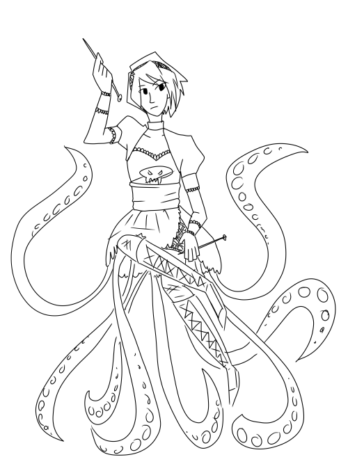 "If anyone wants to colour this then go ahead. I was thinking Grimdark Rose with more black tentacles in the background? I just can't do cell shading and my normal shading style won't suit this piece. Feel free to edit bits if you want u.u Only condition is that you link me to the post! Either send me an ask or tag ""dawnkestrel"" in the first five tags."