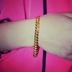 #80s #90s #curb #chain #jewellery  #gold #pink