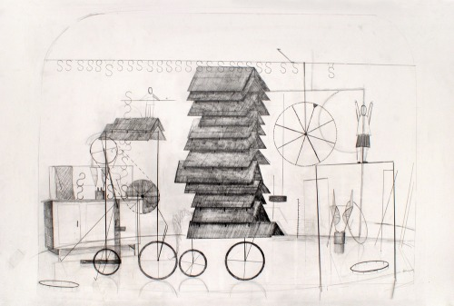 low-country:  Dirk Zoete - Stage-construction (2011)  These pencil drawings originate from an associative way of thinking. They show architecture, interiors, living rooms, circus theatres, stages and boats (barges) in which certain activities are taking place in combination with everyday objects and strange props.  (garage)