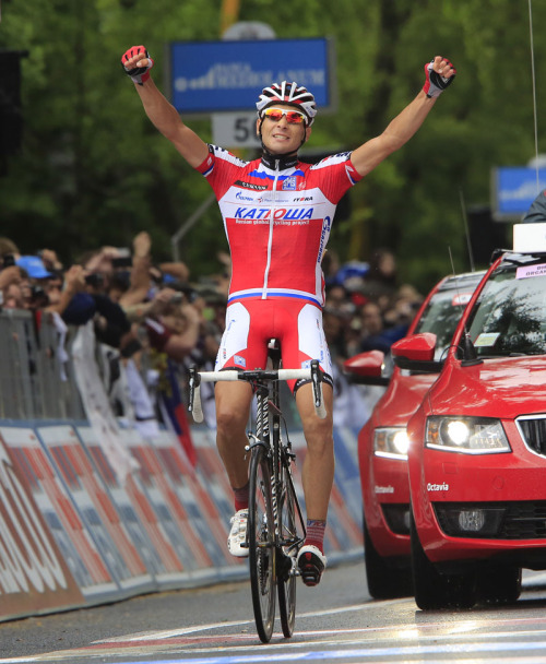 Maxim Belkov takes his first solo victory as a pro in stage 9 of the 2013 Giro. Photo: Graham Watson