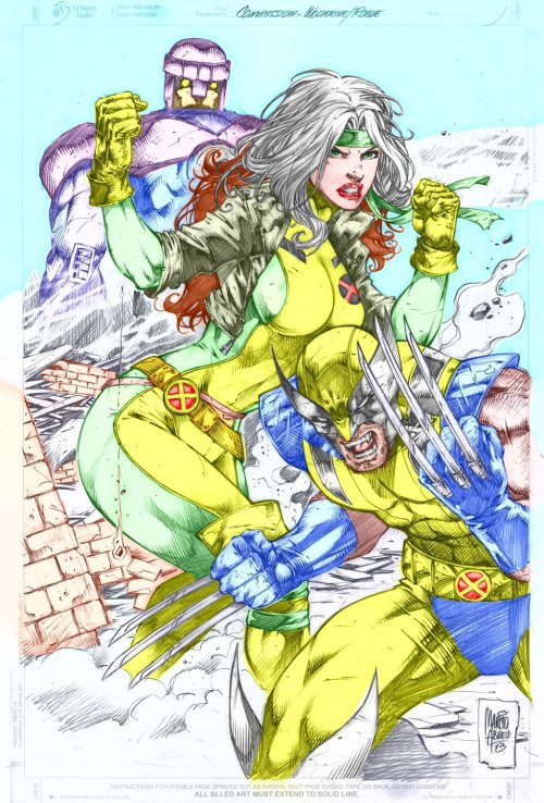 Commission Wolverine and Rogue by MARCIOABREU7 colored by ~GordonAlyx