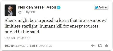 thesciencellama:  Neil deGrasse Tyson lays down some cold hard truth.Every second our Sun releases energy equivalent to about 1 Billion (1,000,000,000) nuclear bombs, and we are digging in the sand.  Let's face it, there's a lot of shit we do that would raise the ol' alien eyebrow. (via ikenbot)