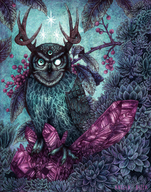 owls-love-tea:  Night Owl by AngelaRizza