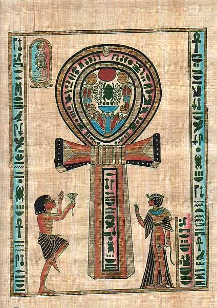 "your-maj3sty:     The Ankh is an Egyptian symbol of great antiquity and it portrays the resurrection of the spirit out of its encasement of matter, otherwise expressed as the triumph of life over death, of spirit over matter, of good over evil.    The ankh appears frequently in Egyptian tomb paintings and other art, often at the fingertips of a god or goddess in images that represent the deities of the afterlife conferring the gift of life on the dead person's mummy; this is thought to symbolize the act of conception. Additionally, an ankh was often carried by Egyptians as an amulet, either alone, or in connection with two other hieroglyphs that mean ""strength"" and ""health""."