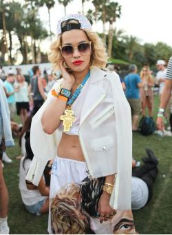 Rita Ora killin' it at Coachella in UNIF's Vapor Moto Jacket (image: Harper's Bazaar)