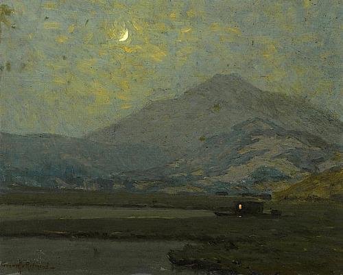 paintingbox:  Granville Redmond (1871-1935). Mount Tamalpais in Moonlight with a Moored Vessel in the Marshes Below. Oil on canvas, 16.25 x 20.25 in.