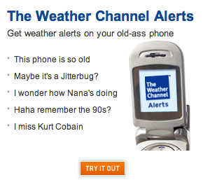 cool phone in your ad, weather.com. cool relevant phone