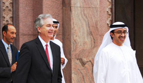 Deputy Secretary of State William Burns meets with United Arab Emirates Foreign Minister Sheikh Abdullah bin Zayed in Abu Dhabi, United Arab Emirates, December 14, 2012. [State Department photo/ Public Domain]