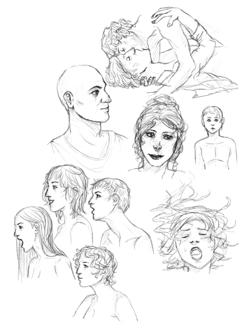 sketch dump #1 yeah, most of that is random stuff but the thingie at the top is supposed to be hannigram and there's also Locke and Kate from LOST, they're not really recognizable tho, I'm still practicing ok