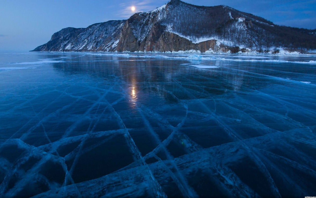 Siberia's Lake Baikal is the world's oldest lake with ~25 million years and the largest single fresh water source on the planet - Ice tracery