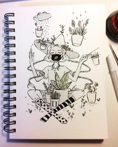sonyacreates inktober witchtober ink drawing illustration