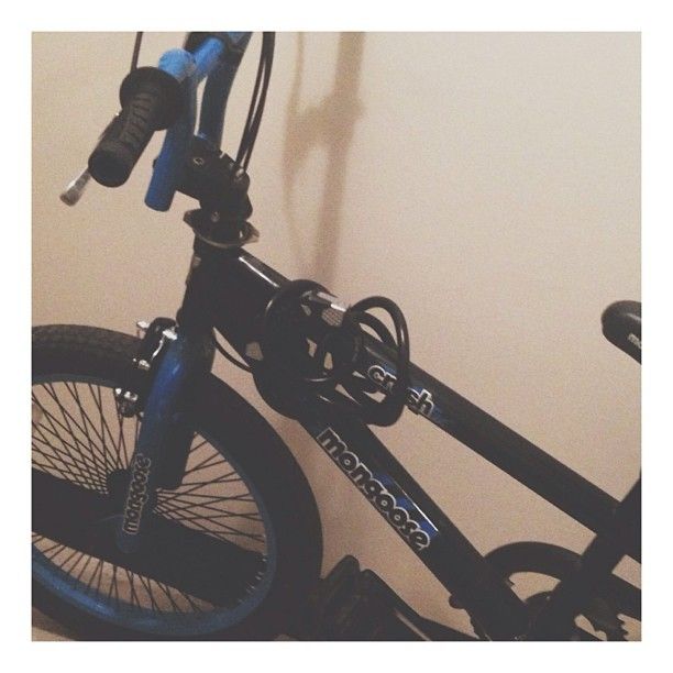 My little brother's bike is cute and I want it.