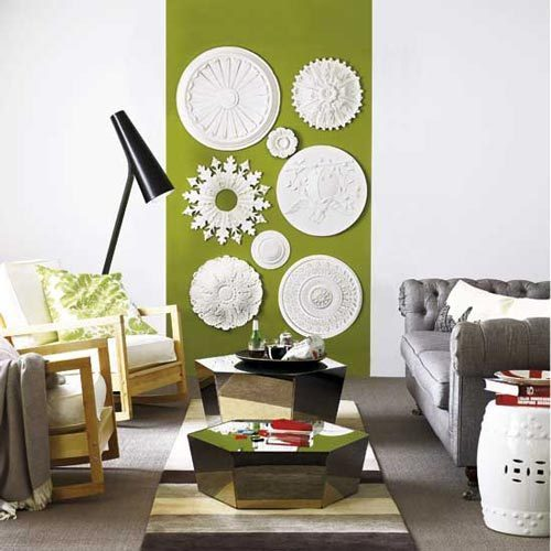 using ceiling medallions as wall decor