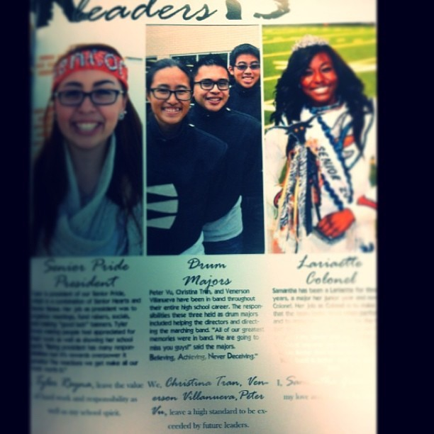 Our little section in the yearbook. ☺ #drummajors #yearbook #leadership #senioryear @__vennyvenven__