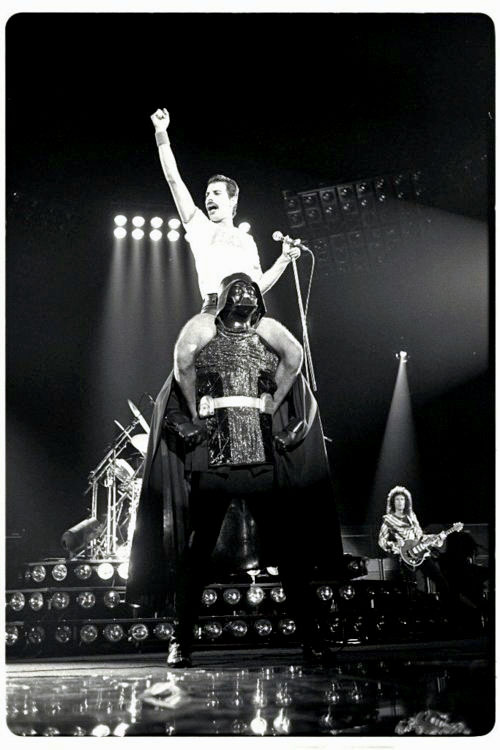 (via Retronaut - Freddie Mercury on Darth Vaders shoulders)