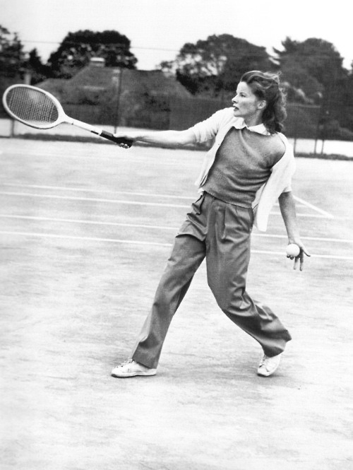 Katharine Hepburn playing tennis at the Merion Cricket Club near Philadelphia, March 1940.