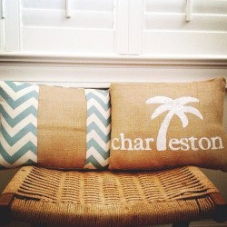 OBSESSED with my new pillows I bought at the #flowertownfestival today! #chevron #burlap #charleston #vintageaffairstudio