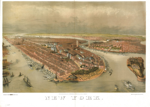 """ Bird's-Eye View of New York — 1874 ""  …  Artist: John Bachmann"