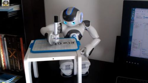 NAO Robot Has Learned To Write - Maybe you've dreamt of being that man or woman who is so important as to compose speeches and letters simply by barking out declamations whilst an attentive assistant jots down your brilliant every word. Robot developer Franck Calzada has brought us one step closer. He's created an assistant scribe for the common man in his new program in which a NAO robot can write any word. At the moment, however, you're going to need a lot of time – and patience – if you enlist NAO's services. To say it's deliberate in its writing is quite the understatement. Calzada has himself spent a lot of time with NAO, teaching it to play games like catch, Hangman and the Statue Game. Now, with his ability to write any word it hears, NAO can actually get some work done. This isn't the first time we've seen Nao write. And while it will definitely be some time before it begins replacing office workers, its penmanship has certainly improved. (via NAO Robot Has Learned To Write | Singularity Hub)