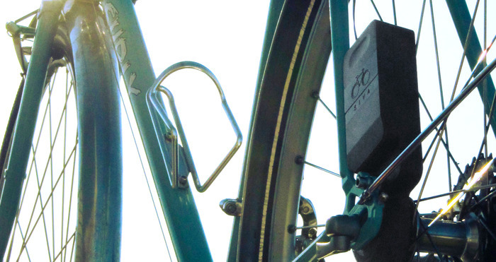 A bike-powered generator to charge your USB devices while you ride.