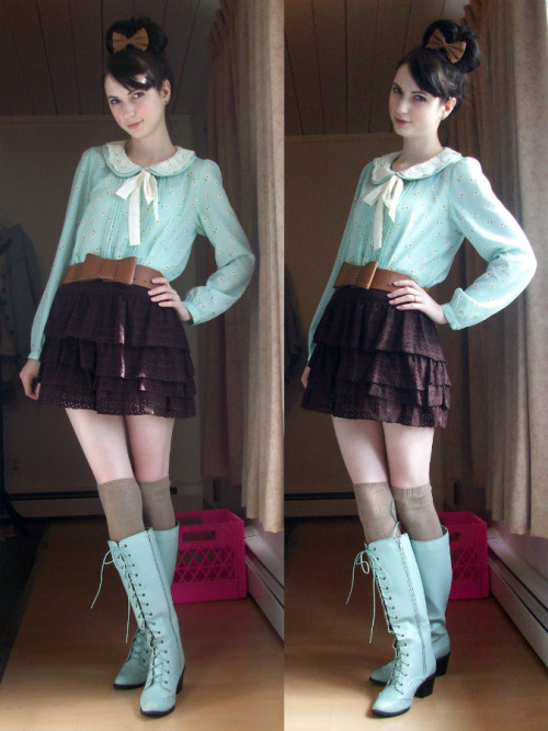 mintkismet:  today's outfit, with my new boots~ (on Lookbook)
