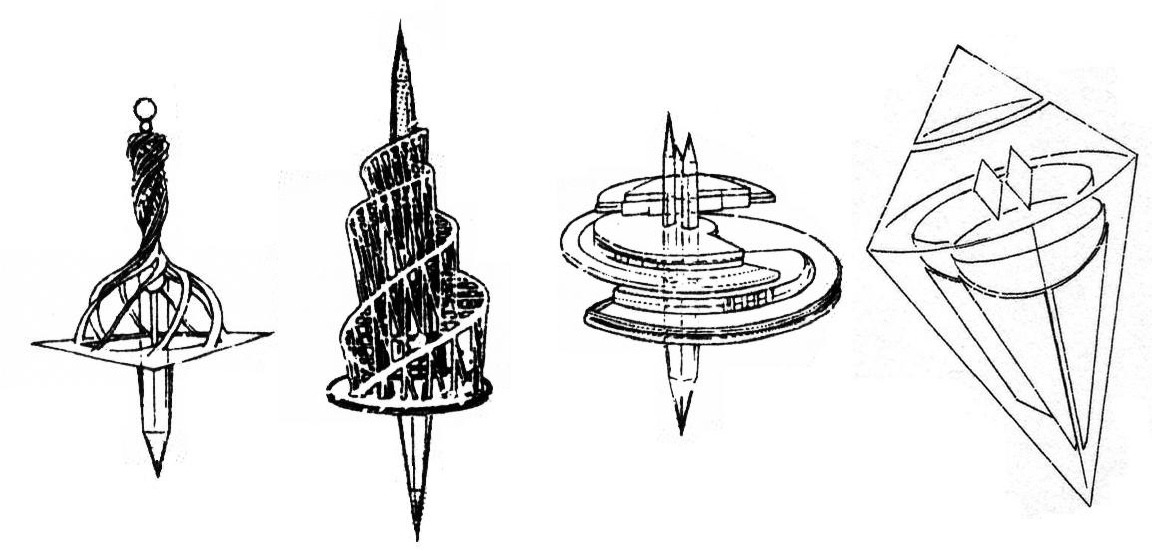 silvermoon424:  The four castles shown in Sailor Moon. From left to right: Triton Castle (home of Princess Neptune), Miranda Castle (home of Princess Uranus), Charon Castle (home of Princess Pluto) and Magellan Castle (home of Princess Venus).
