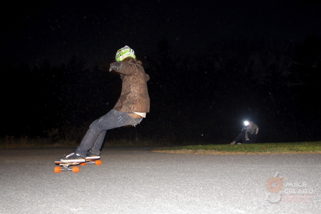 Speed check by night. Rider: Stefan Kaiter-Snyder, back at a hometown favorite. Cool inadvertent flash sync with Rachael. -MG