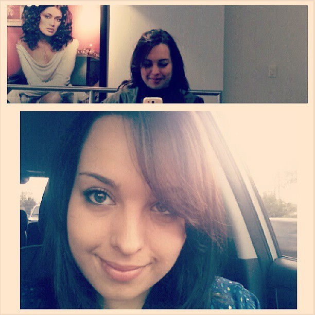 I got my hair did!  :) dyed it darker :) #hairtings #beforeandafter