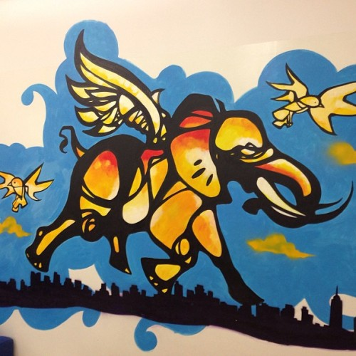 #craiganthonymiller runs #dumbo like seriously! I love spotting artist work I know! This one is at #nyupoly in dumbo #brooklyn #nycstreets #art #streetart (at NYU-Poly DUMBO Incubator)