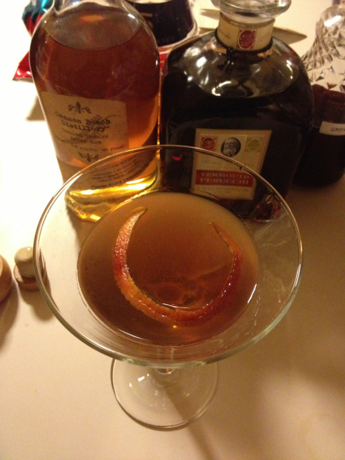 El Mejor Presidente 1 1/2 oz aged dark rum 3/4 oz vermouth 1/4 oz orange curaçao 1/4 oz grenadine Combine all ingredients over cracked ice and stir until well chilled. Double strain into a martini glass and garnish with an orange twist. This was one incredibly good drink. Not sure how much was due to the ingredients…both the Cannon Beach rum and the Vermouth Perucchi are excellent.
