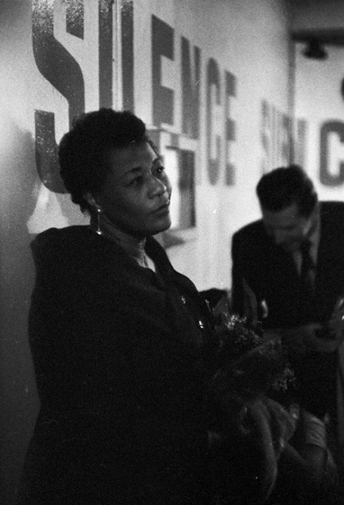 theniftyfifties:  Ella Fitzgerald backstage in France, 1957   Boss!