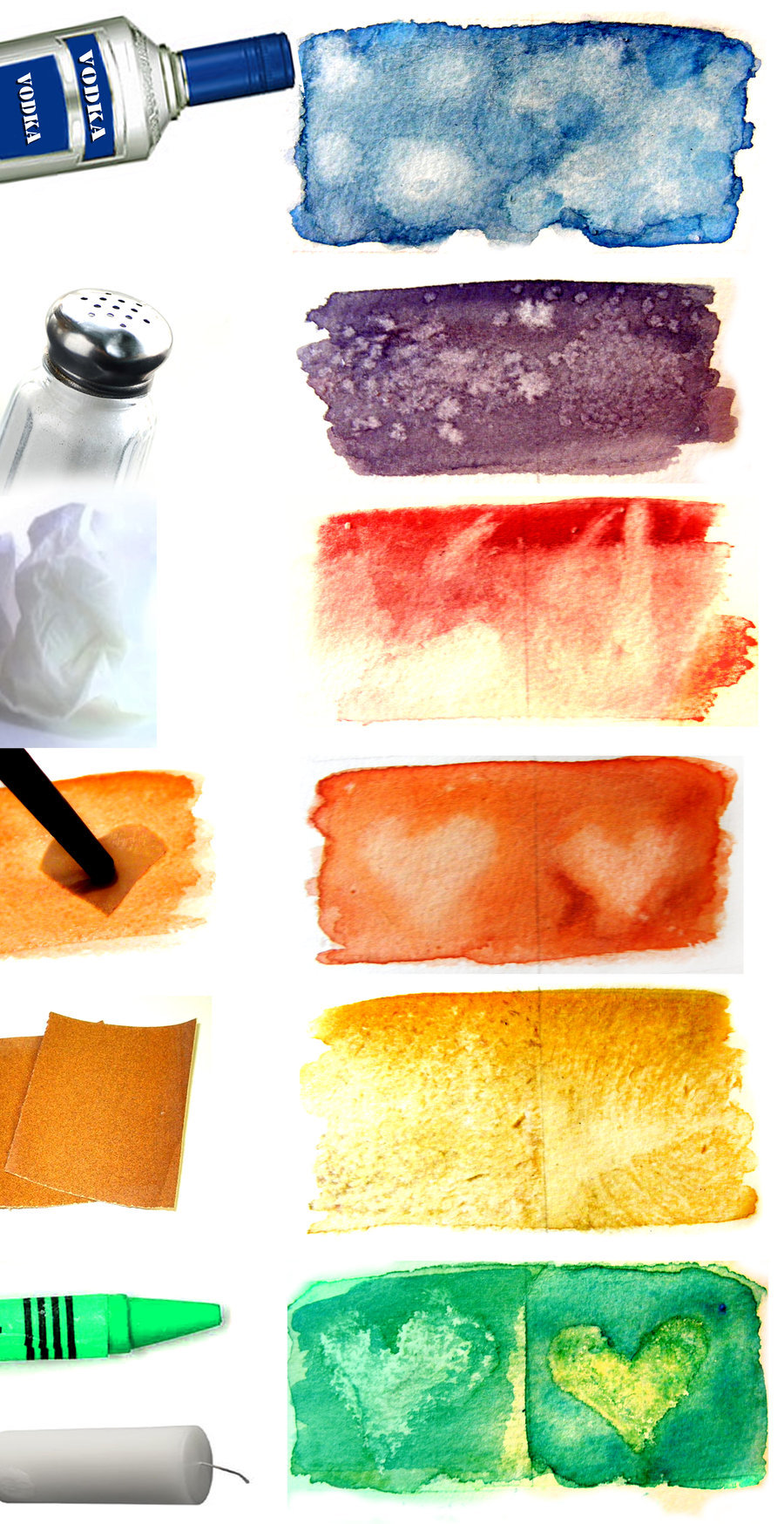 truebluemeandyou:  DIY Watercolor Texture Techniques from hatefueled on Deviant Art here. Top to bottom: alcohol, salt, blotting, stencils/erasing, sandpaper and wax. You can go to the link for more on each technique.