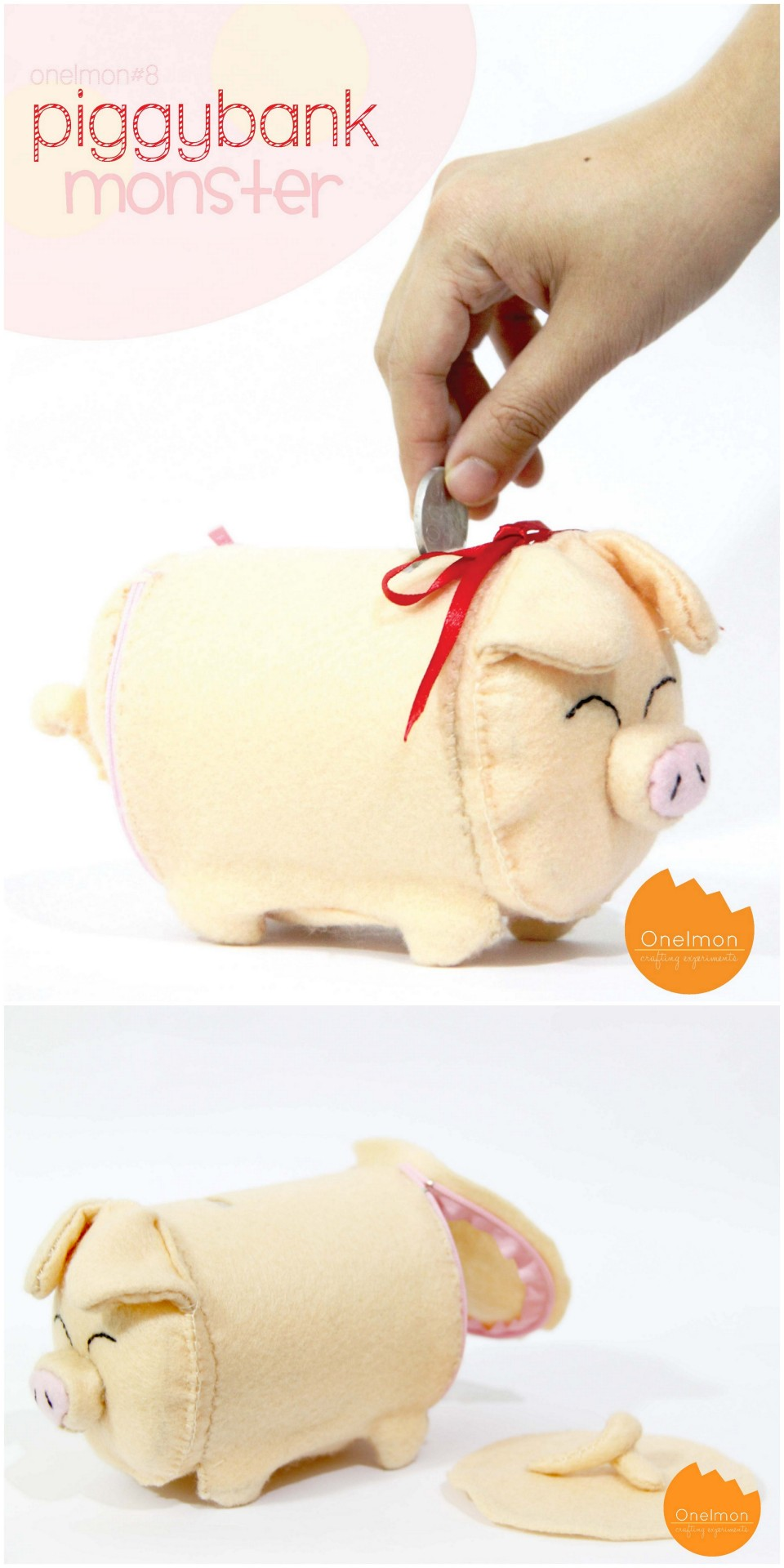 rainbowsandunicornscrafts:  DIY Felt Piggy Bank Tutorial from onelmon here. Instead of a PVC pipe you could use a strong cardboard container from oatmeal etc…