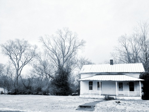 December 29, 2012 Old House Dusted With Snow Franklin, Tennessee Located along 4th Avenue adjacent to the old Franklin City Cemetery and across the street from the also-old Rest Haven Cemetery. Shot this image with an iPhone 4S and processed it with the Camera Awesome app. This is the cyanotype filter. Click the photo to see it larger. Click HERE to see another photo of the same scene, taken with my main camera. It may be the best photo I've made all year.