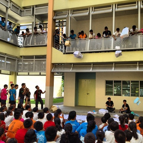 Operation Bomb Shell - launching the egg bombs (at Compassvale Secondary School)