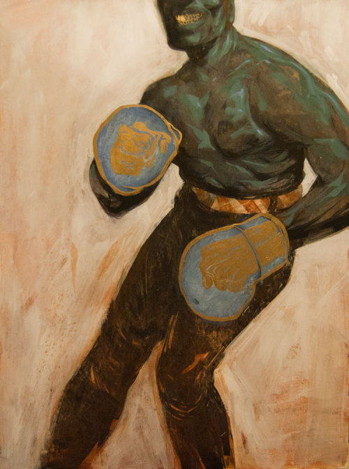 ".:Black Jack:. 30""x 40"" Mixed Media on Board   #blackjack #JackJohnson #boxing #champion #galleryshow #rva #loosescrewtattoo #glitchgallery Here's the full look at one of my pieces in my show at Glitch Gallery in RVA.  It's been a couple years since I ve painted.  All the exploration in my sketchbooks finally had me come around and break out the brushes again.  Wanting to work on a larger scale, I decided to tackle a portrait I had been thinking on for a while, of one of the largest american personalities I've read on that no one seems to talk about a great deal: Jack Johnson.   He's a real life, American Tall Tale hero, a laced up John Henry if there ever was one.  One of the smoothest cats walking the earth in the 1900's, he broke boxing's color line, became champion after many long years of fighting adversary outside and inside the ring, loved whoever he wanted, and did it all with his golden tooth smile.  He was his own man. Thanks for everyone who made it out that night, through tornado watches and rain.  If you missed it or would like to get a piece or print from the show, you can visit the Gallery floor and store by clicking on this link - http://glitchgalleryrva.com/chris-visions-wrap-up/ Thanks again to Jesse Smith from Ink Master, Philippa and Jared at Loose Screw Tattoo for making the show happen.  You guys are the best -"