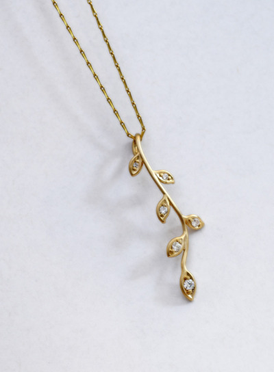 14k diamond twig pendant